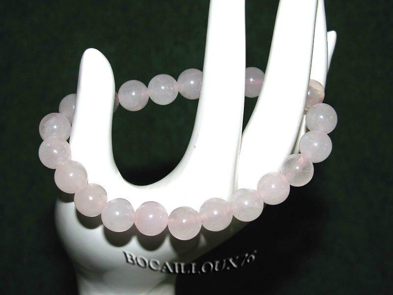 Bracelet QUARTZ Rose 10 Perles 8mm (5)