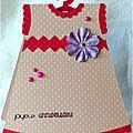carte d'anniversaire pour fille en forme de robe rose