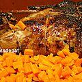 Gigot d'agneau aux épices douces, carottes gingembre