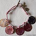 Bracelet de Profession de Foi sur lien de coton fin rose