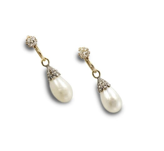 A pair of natural pearl and diamond earrings, circa 1900