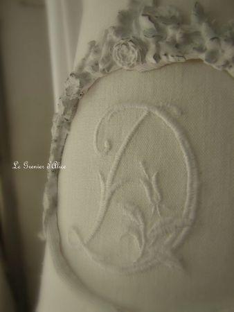 Abat jour diametre 20 avec moulure guirlande fleurs decoration de charme shabby le grenier d'alice 2