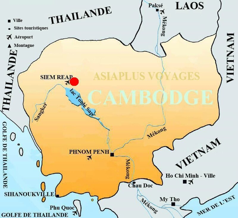 carte-touristique-cambodge - escale Siem Reap