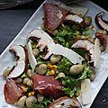 Salade de fèves au jambon cru et au fromage de brebis