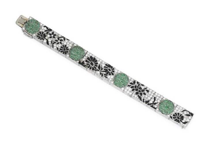Platinum, Diamond, Onyx and Emerald Bracelet, Lacloche Frères, France