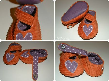 chaussons orange et violet