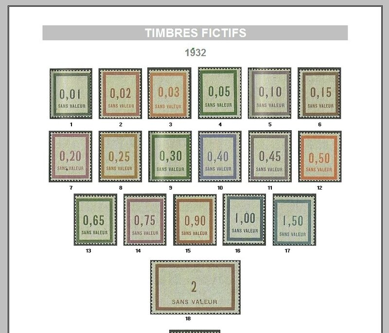 FRANCE TIMBRES FICTIFS