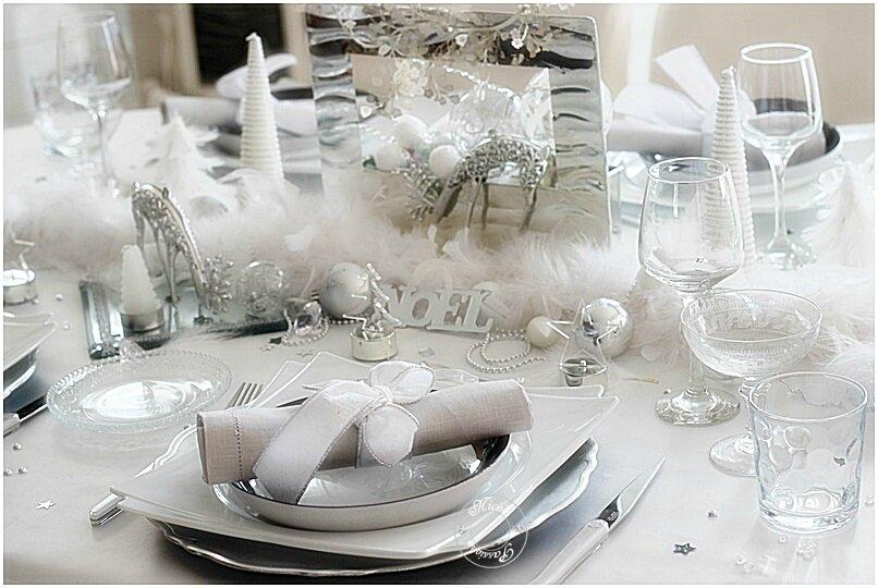 """Ma table """" La magie de Noël immaculée et argentée"""""""