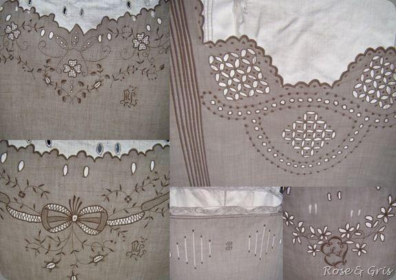 chemises de nuit détails des broderies pf
