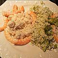Ailes de raie beurre noisette et crevettes