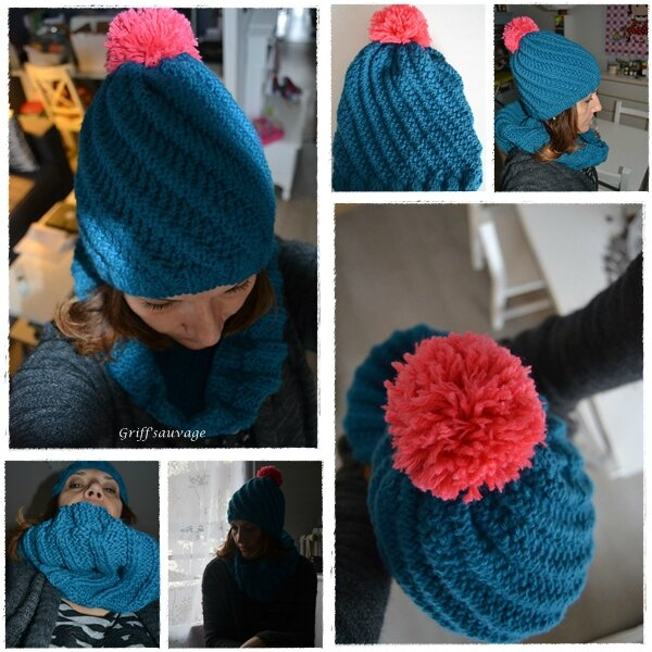 bonnet et snood bleu canard1