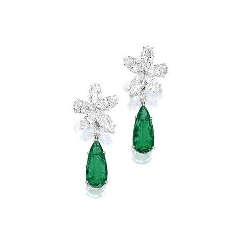 Pair of Emerald and Diamond Pendent Ear Clips