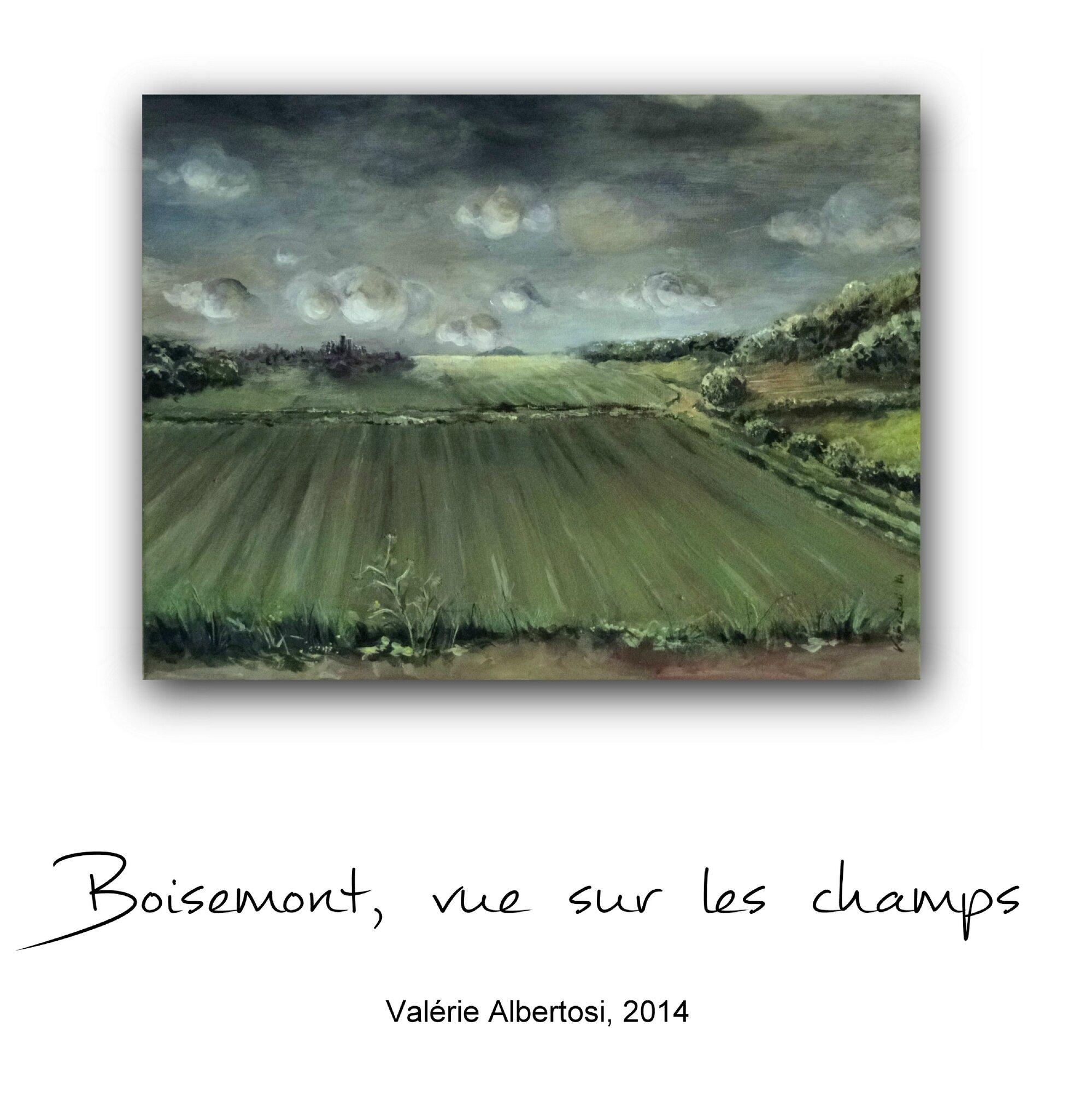peinture BOISEMONT vue sur les champs Paris, village, val d'oise, valerie albertosi