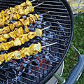 Brochettes de poulet citron et curry