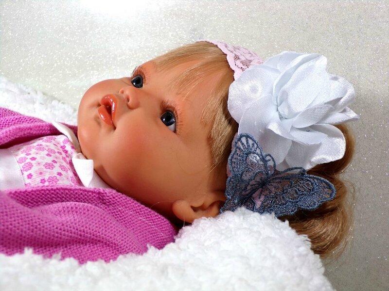 Bandeau cheveux bébé dentelle papillon fleur