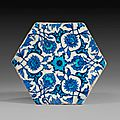 Cobalt and turquoise hexagonal tile, turkey, iznik, 1530-1540, ottoman dynasty