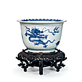 An important blue and white bell-shaped 'five mythical creatures' jardinière, china, qing dynasty, kangxi period (1662-1722)