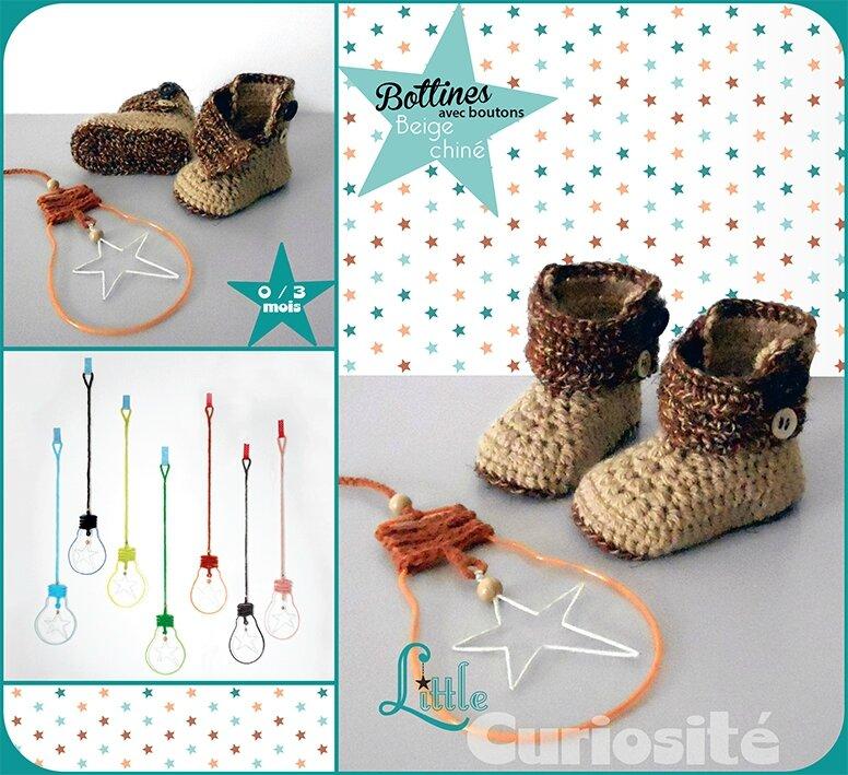 Chaussons Fait-main au Crochet - Bottines à boutons Beige chiné - Cadeaux de Naissance Made in France - Little Curiosité