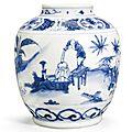 A rare blue and white 'Boys' jar, 17th century