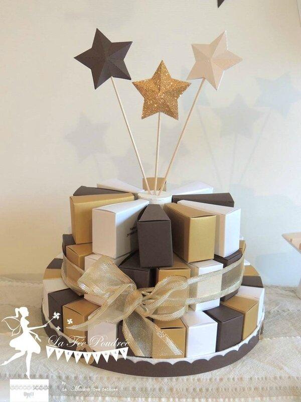 decoration bapteme theme etoile chocolat doré blanc neige gateau dragees