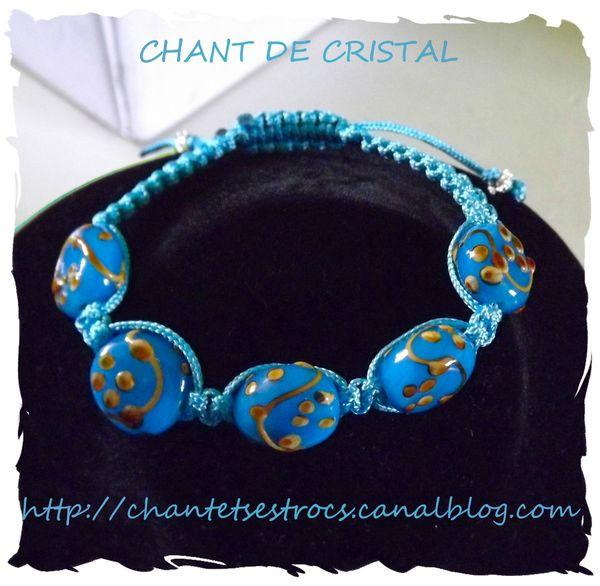 shamballa perles bleues en verre