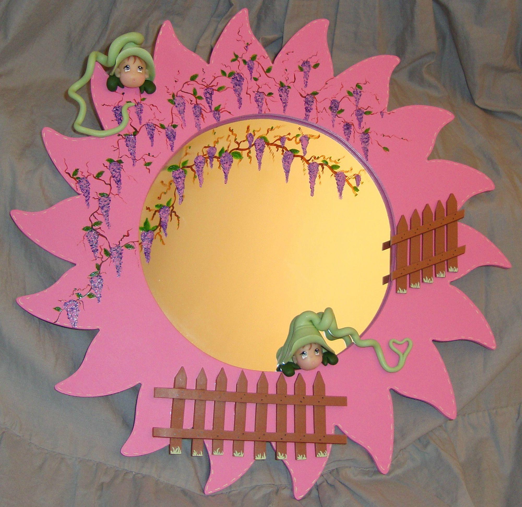 Miroir décoré en pâte polymère