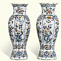 A pair of dutch delft polychrome vases, mid-18th century