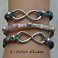 Trio de bracelet en cordon liberty et connecteur infini