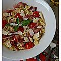 Salade de farfalle aux 2 tomates, jambon cru, amandes et parmesan