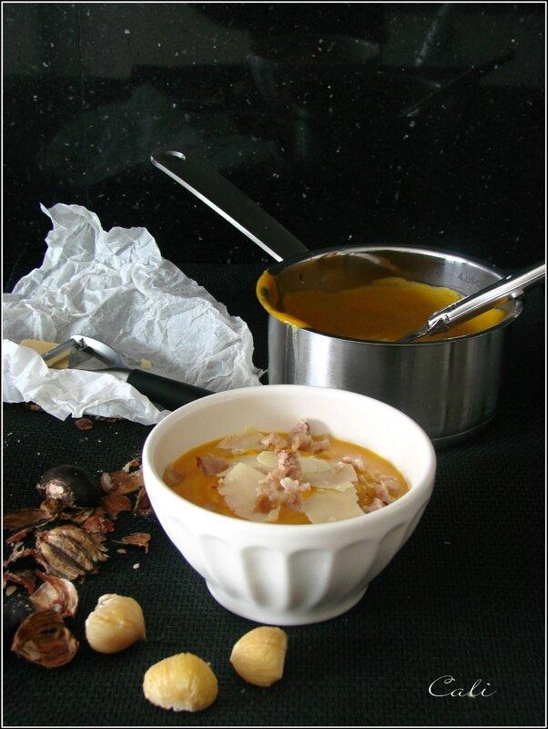 Crème de Potimarron aux Copeaux de Cheddar & Eclats de Châtaignes 002
