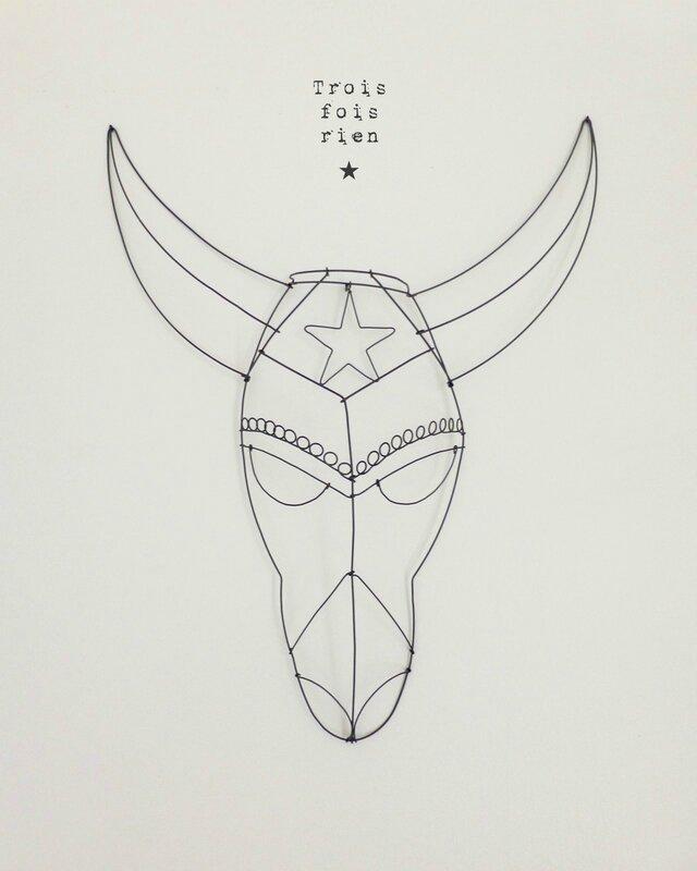 masque fil de fer N°4B, wire mask, fil de fer, wire, trois fois rien