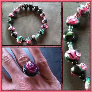 rose noire et fuschia bracelet