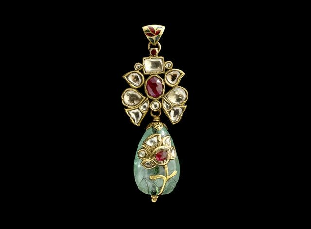 A gem-set enamelled Pendant with emerald drop, Possibly Deccan, 19th Century