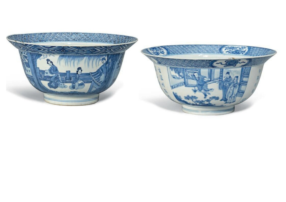 Two blue and white deep bowls, one with Kangxi six-character mark and of the period (1662-1722), the other Kangxi period