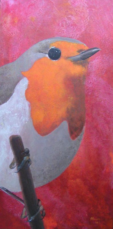 Rouge gorge - acrylique sur bois - 30x60cm - 2008