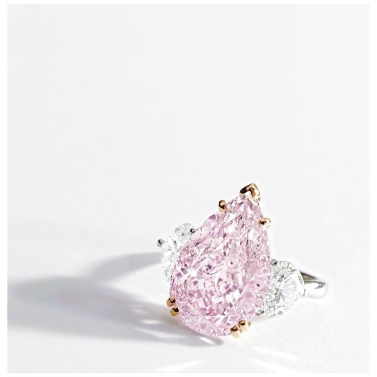 Very Fine and Important Fancy Intense Purple-Pink Diamond and Diamond Ring