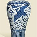 A large, rare and impressive blue and white 'phoenix' vase, meiping, Wanli six-character mark in underglaze blue and of the period (1573-1619)  © Christie's Images Ltd 2015
