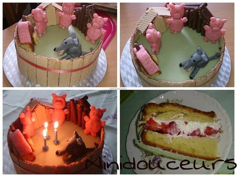 gâteau 3 petits cochons - les p'tites douceurs de nini
