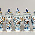 Polychrome chinoiserie garniture of five vases and covers. Delft, circa 1760-75