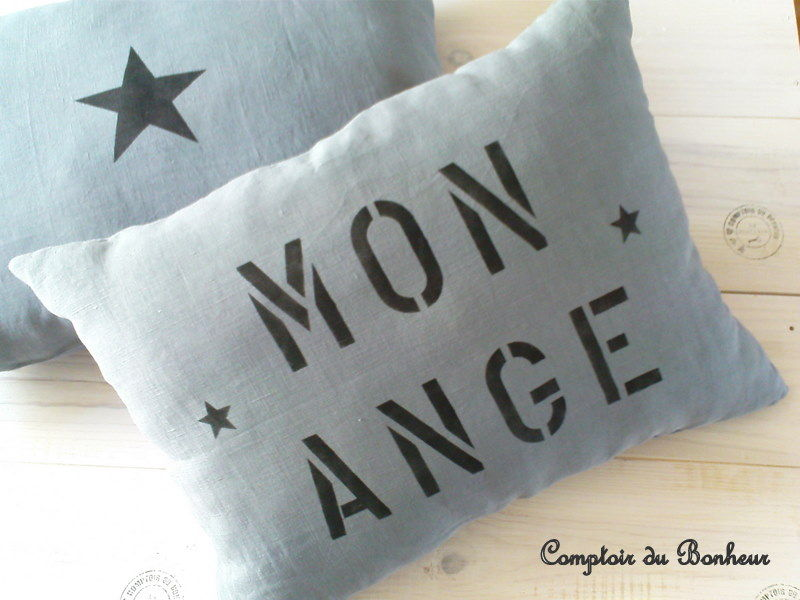 coussin r ve mon ange photo de cr as en tissu comptoir du bonheur la boutique. Black Bedroom Furniture Sets. Home Design Ideas