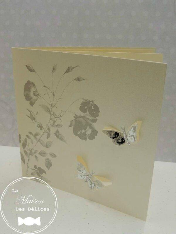 menu carte invitation faire part mariage theme papillon bucolique nature gris argent ivoire amande avola