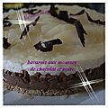 Bavarois mousse chocolat/poire sur lit biscuité