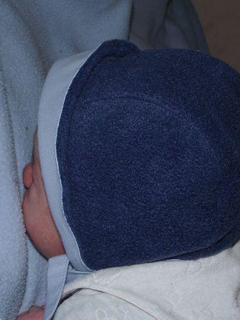 bonnet 1 mois piqué & polaire bleu 005