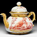 Rare hausmaler tea pot, meissen, ca. 1725. painted by abraham seuter after an engraving by johann elias ridinger