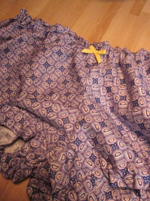 Culotte BIANCA en coton imprimé carrés bleu - noeud de sergé gros grain jaune (2)