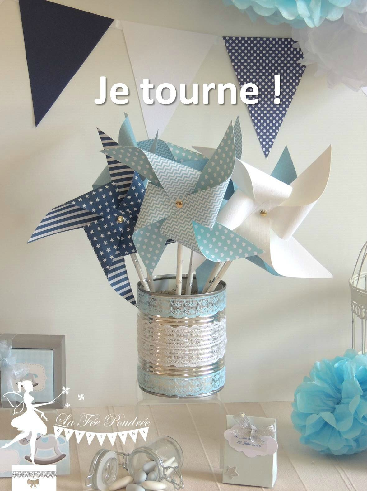 moulin a vent tournant bleu blanc marine guirlande fanions pompon papier soie chevron rayures. Black Bedroom Furniture Sets. Home Design Ideas