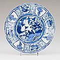Blue underglaze dish depicting riverscape with ducks and flowers, ming dynasty, wanli period (1573-1619)