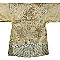 A  beige-ground gold-thread and silk embroidered dragon robe for a religious statue, china, 19th century