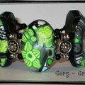 bracelet noir-pomme verte ovale 2