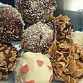 Maxi Cake'pops : blanc, noir, coco, frosties